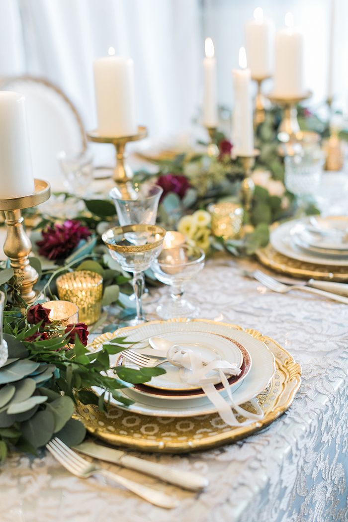 Greenery Runner with Candles and Gold Wedding Decor