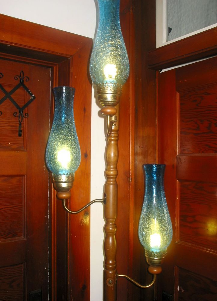 166 best antique vintage lamp parts images on pinterest vintage vtg 3 way tension pole metal wood floor lamp w 3 blue crackle glass shades in collectibles lamps lighting lamps electric table lamps aloadofball Choice Image