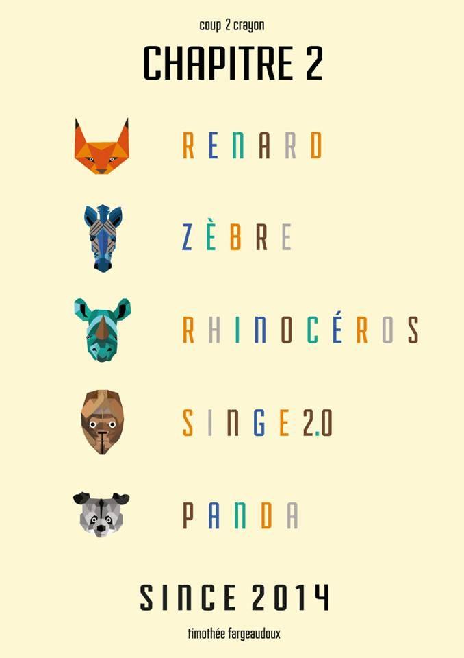 // Chapitre 2 //  #renard #fox #zebre #zebra #rhinoceros #singe #monkey #panda #animal #animals #animaux #graphisme #vectoriel