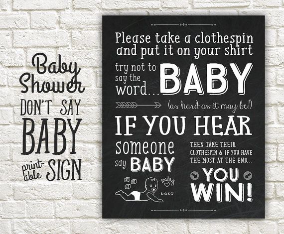 Donu0027t Say Baby Shower Game Sign   Chalkboard Shower Donu0027t Say Baby