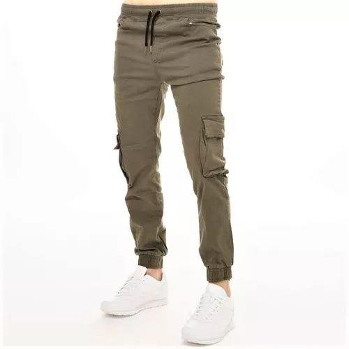 (2) Pantalon Cargo Hombre Chupin Gabardina Elastizada ...