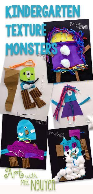 Art with Mrs. Nguyen (Gram): Kindergarten Texture Monsters (K)