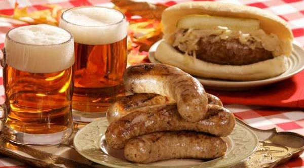 Food: These are three of the main items that Germans eat. Schnitzel sandwich, Sausage and A warm beer. They are eaten mostly at Oktoberfest.