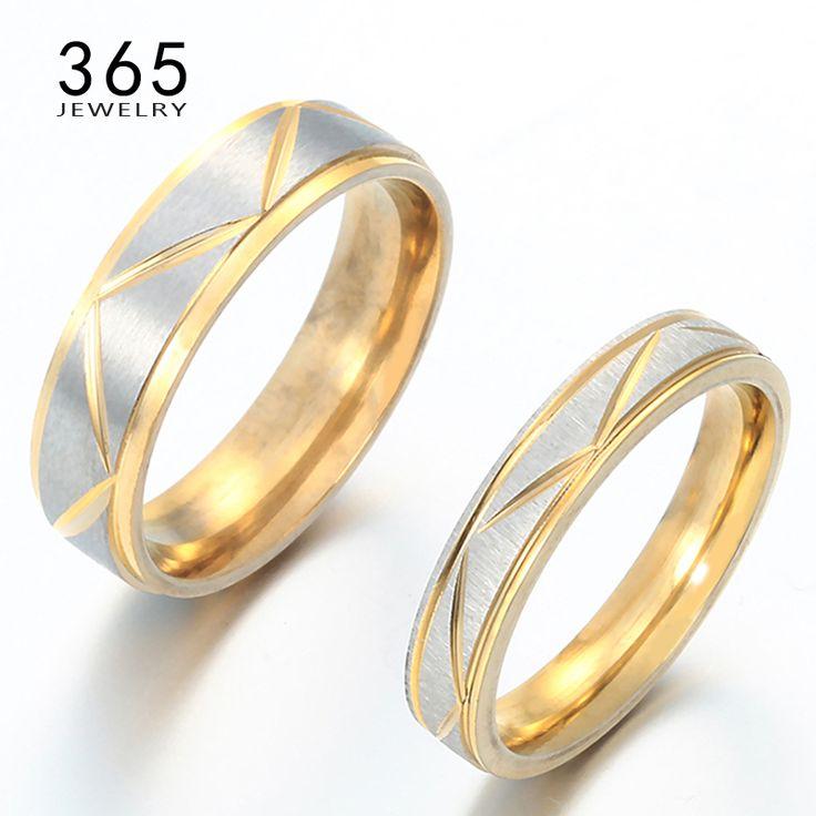 Beroemde Merk Sieraden 100% Rvs Koppels Liefhebbers Ringen Goud Plated Wedding Band Hem en haar Belofte Ringen voor Mannen vrouwen