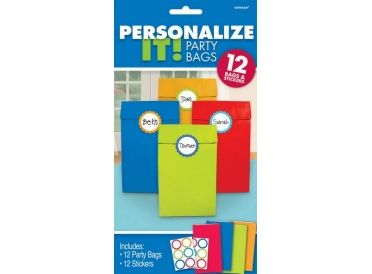 Personalize It! Red, Blue, Yellow and Green Treat Bags, Package of 12 Bags with Stickers - Whish.ca