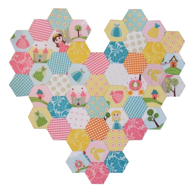Hexagon Heart in Happy Ever After by Sandra Workman for @Riley Blake