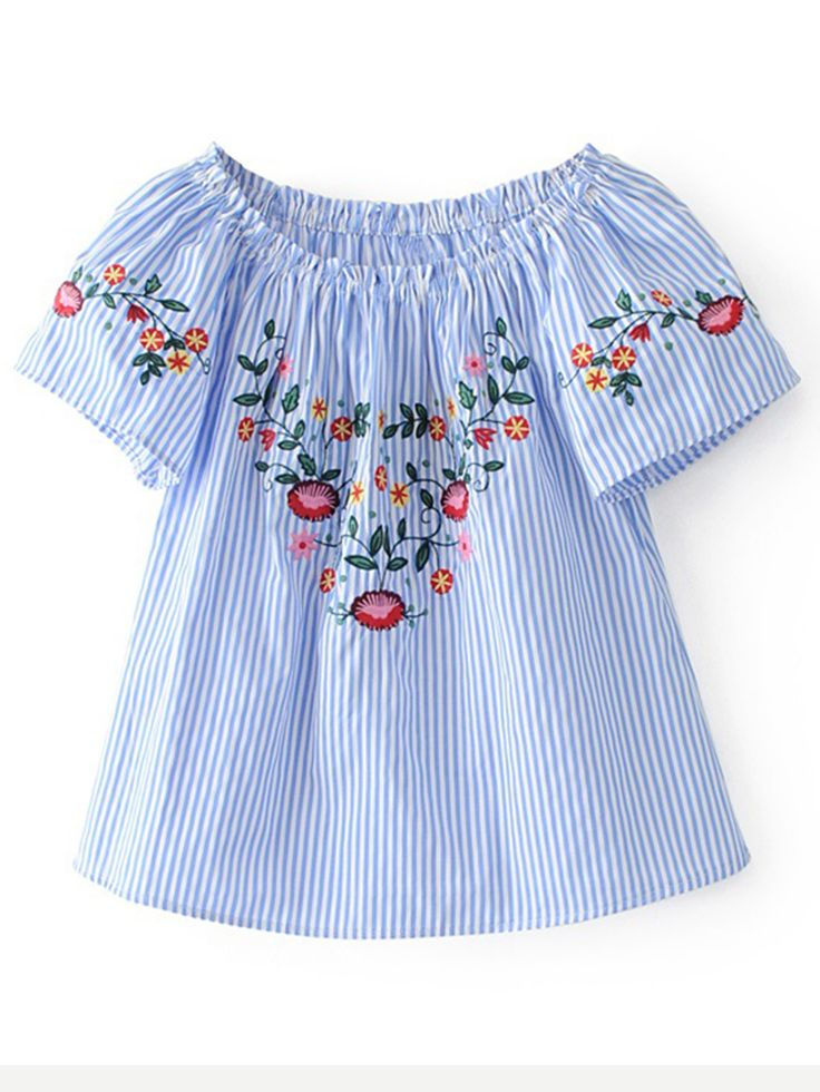 Shop Boat Neckline Vertical Striped Embroidery Blouse online. SheIn offers Boat Neckline Vertical Striped Embroidery Blouse & more to fit your fashionable needs.