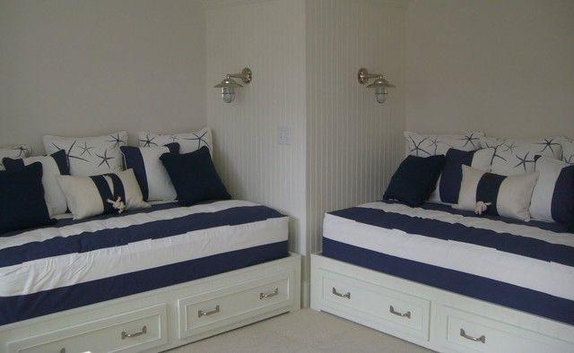 Fun, nautical themed bunkroom with daybed style beds. Beadboard ...