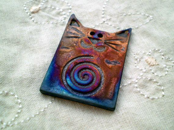 Raku Bead Cat Bead Spiral Pattern Handmade