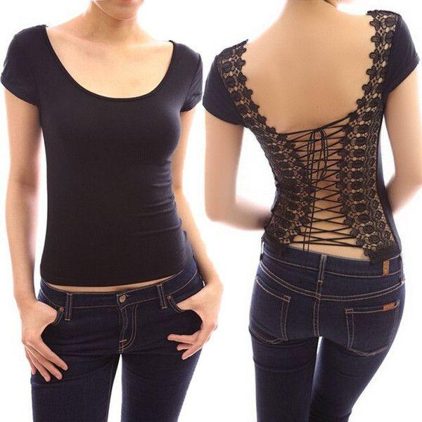Damen Tops -Tshirt- Clubwear Shirts Sexy Backless T Shirt Women -Lace Splicing Tops Women T-Shirt Black White Short Sleeve Tshirt 24