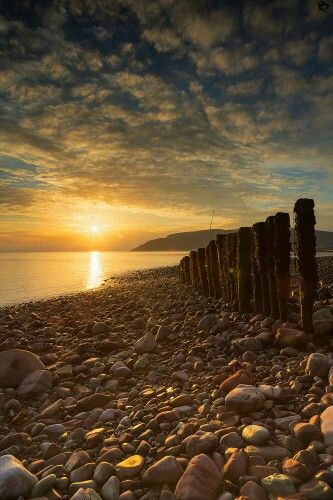 porlock weir beach sunrise