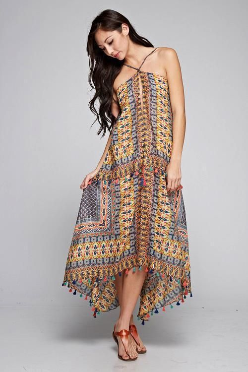 Gold Moroccan Inspired Scarf Tie Halter Dress Fringe Gypsy Boho Hippie Ethnic