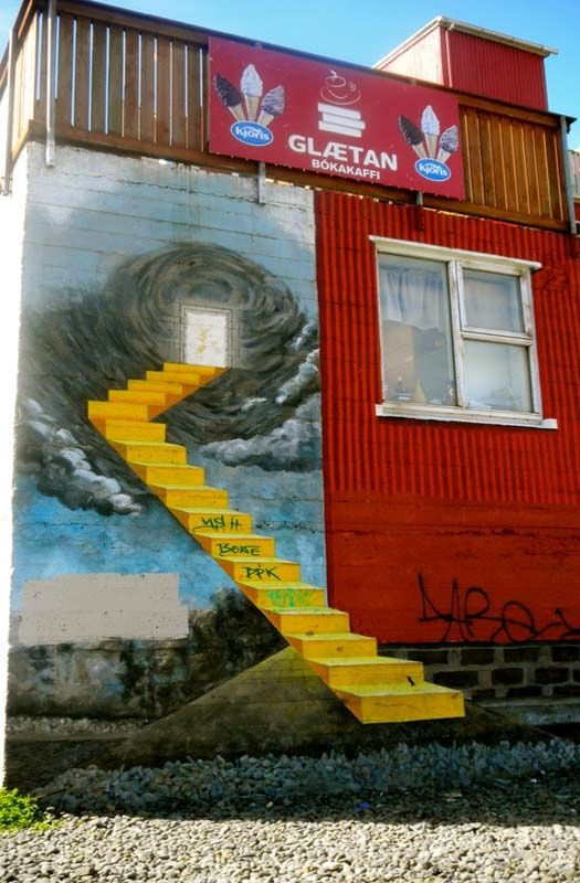 And up the stairs... Reykjavik, Iceland. Urban art.