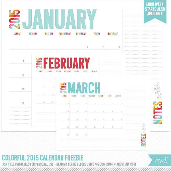 weekly printable calendar 2015