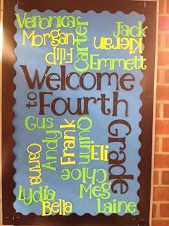 Welcome bulletin board - Wordle themed