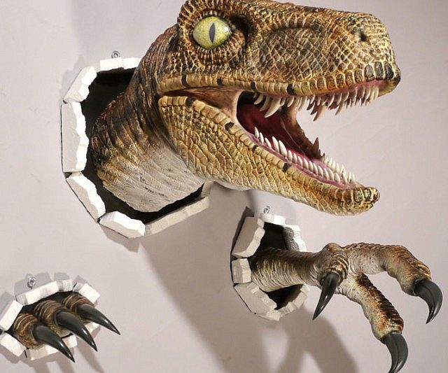 Realistic Wall Bursting Velociraptor In 2018 Cool Stuff