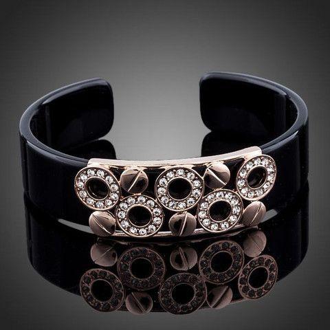 Black Lovely Round 18K Rose Gold Plated Stellux Austrian Crystal Bangl | Stylish Beth