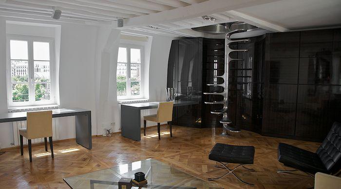 Apt 02, Stair - Roger Tallon spiral stairs. Jakub Blazejowski, interior designer