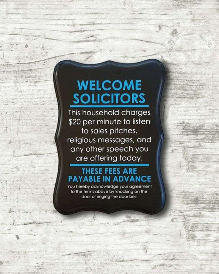 """This Welcome Solicitors, no soliciting sign is hand painted with a high quality outdoor paint. No vinyl is used on this sign. This listing is for THIS SIGN. Each sign is unique, and may have apparent knots, and other natural various characteristics in the finished product. These add character to the sign and are intentionally not sanded out. A Talking Treasures original design! This sign measures 9"""" x 12"""" HANGING HARDWARE You have several options - No Hardware, 1.5 Ribbon, or Sawtooth…"""