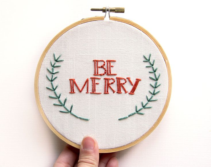 Christmas Decoration - Embroidery Wall Art - Be Merry Hoop Art - Holiday Decor - Red and green - Cute Festive Rustic - 5 Inch Hoop. $25.00, via Etsy.