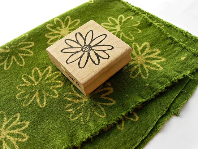 Bleach stamping - make a stamp pad with paper towels, stamp away, then rinse in 1:6 vinegar + water