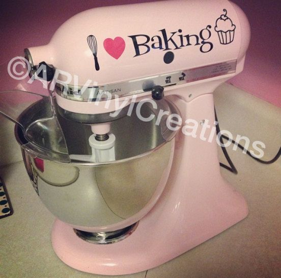 Kitchen Aid Stand Mixer Baking Cupcake Decal I heart Baking Christmas gift. So cute!