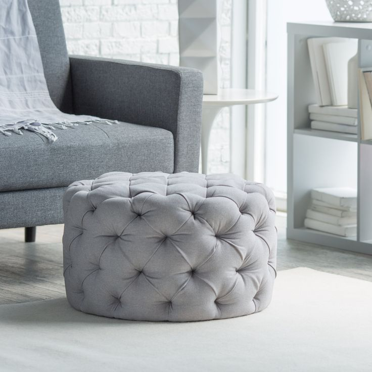 Belham Living Allover Tufted Round Ottoman Grey An All