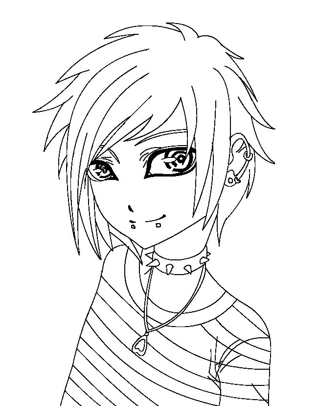 anime emo coloring page