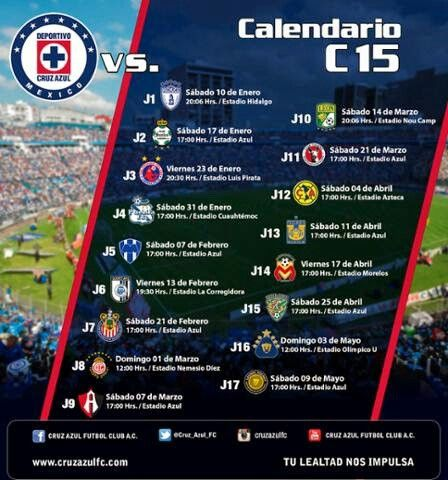 Calendario clausura 2015 cruz azul, fútbol