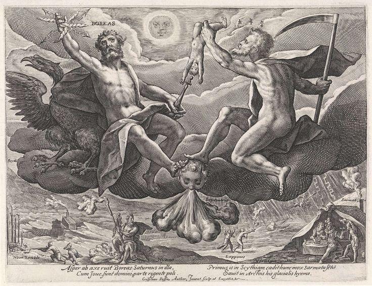 Crispijn van de Passe (I) | Noordenwind, Crispijn van de Passe (I), 1589 - 1611 | Wolkendek met Boreas (Noordenwind). Hij wordt vergezeld door Saturnus en een adelaar. Hun voeten rusten op de Noordenwind (Septentrio), die als blazend hoofd zonder lichaam is afgebeeld. Beneden op de aarde zijn het Noorden en de Winter gepersonifieerd. Links op de achtergrond een gezicht op Nova Zembla. Rechts op de achtergrond het volk van Noorwegen. In de marge een vierregelig onderschrift, in twee kolommen…