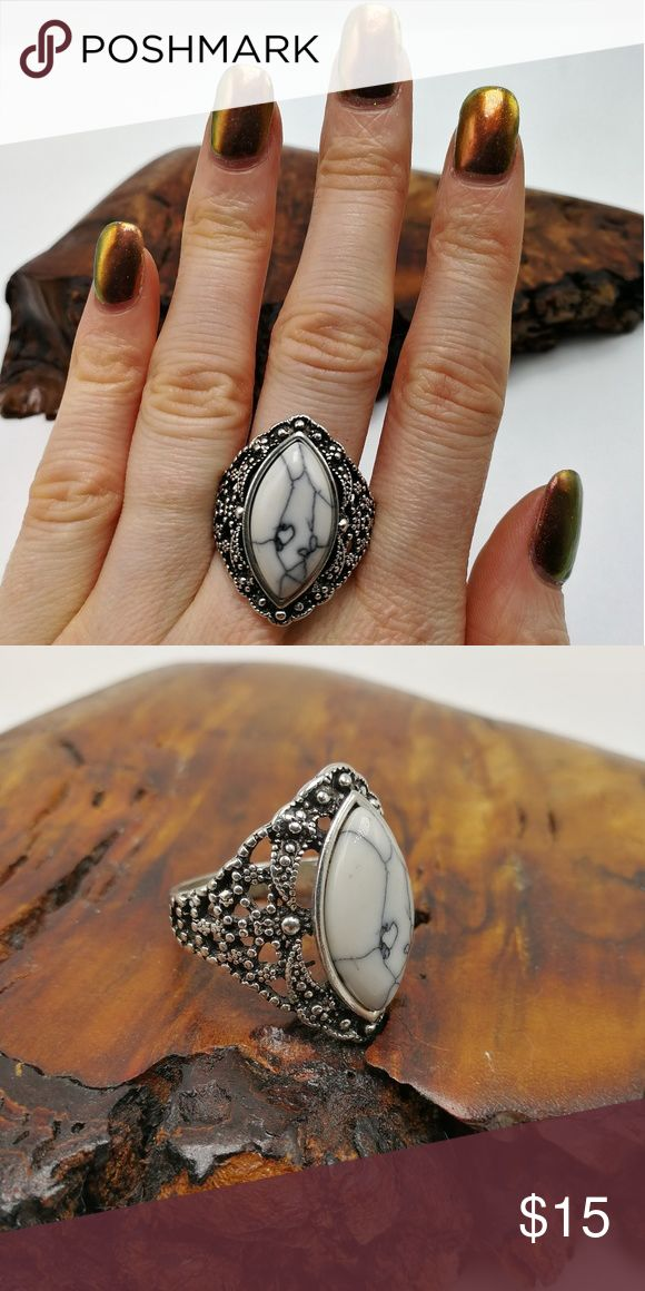 White Turquoise Howlite silver New with Tags. Gorgeous Natural Gemstone Buffalo Turquoise howlite Tibet Silver ring. Mixed Metals. Lead & Nickel free. No trades or holds. Price is firm. Bundle to SAVE. R#2878 PLUS SIZE Jewelry Rings