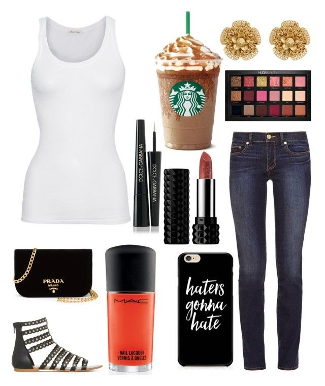 """Untitled #10975"" by ohnadine on Polyvore featuring Tory Burch, Huda Beauty, American Vintage, Kat Von D, MAC Cosmetics, Dolce&Gabbana, Miriam Haskell and Prada"