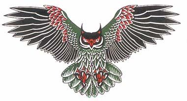 owl tattoo designs wings green red design gettattoed tattoo ideas pinterest blackfoot. Black Bedroom Furniture Sets. Home Design Ideas