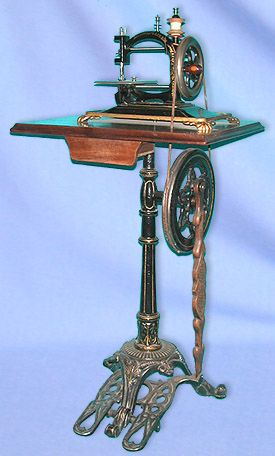 ❤✄◡ً✄❤ A fine National Express chain stitch machine adorns this elegant pedestal style treadle. Newton Wilson widely advertised this particular stand as suitable for many of his machines throughout the 1870s. - http://www.dincum.com/library/libraryimages/lib_national_express.jpg