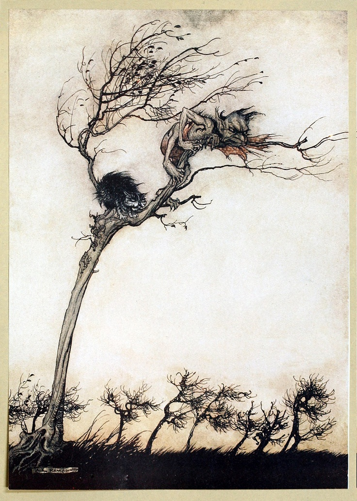 """""""Some say no evil thing that walks by night / In fog, or fire, by lake or moorish fen, / Blew leager hag or stubborn unlaid ghost / That breaks its magic chains at curfeu time; / No goblin, or swart faery of the mine, /   Hath hurtful power o'er true virginity.""""  Arthur Rackham, from Comus, by John Milton, New York, London, 1921."""