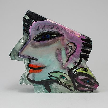 ULRICA HYDMAN-VALLIEN, bemålat glasblock, Kosta Boda, signerad, 1990-tal.