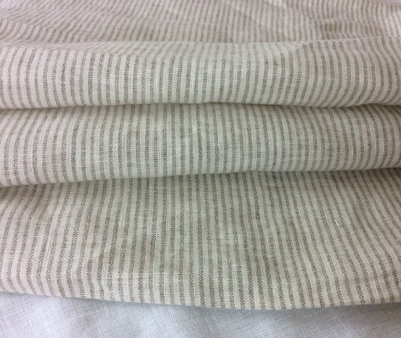 Natural Linen Grey and White Ticking Stripe Duvet Cover set in natural linen, ticking stripe duvet cover and ticking stripe pillow covers
