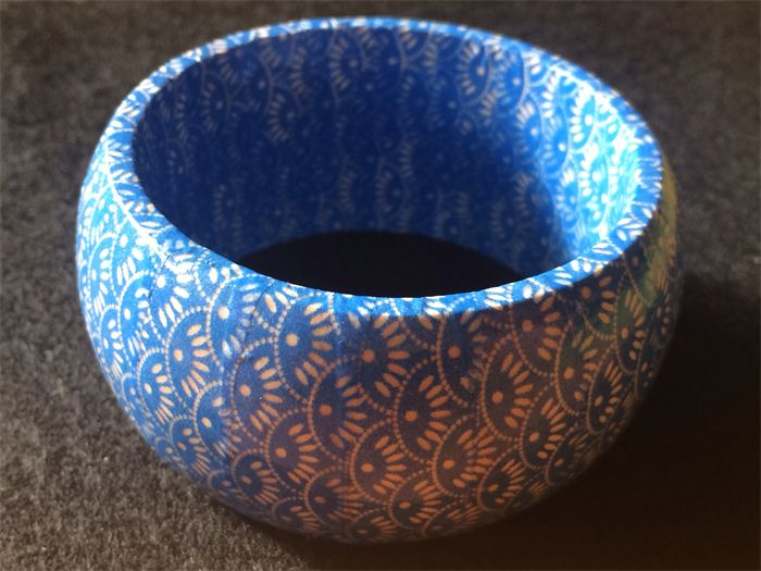 Beautiful blue bangle! Wooden bangle covered in washi tape and varnished for protection and shine.