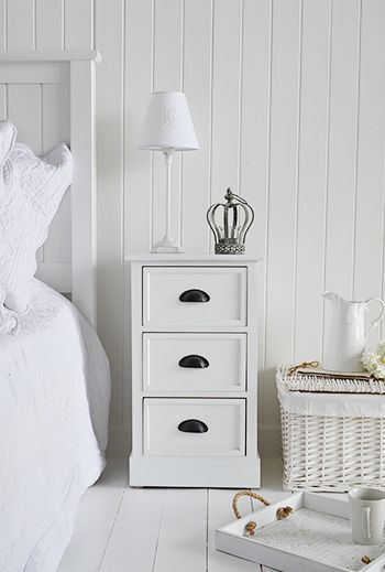 Southport white bedside cabinet with three drawers