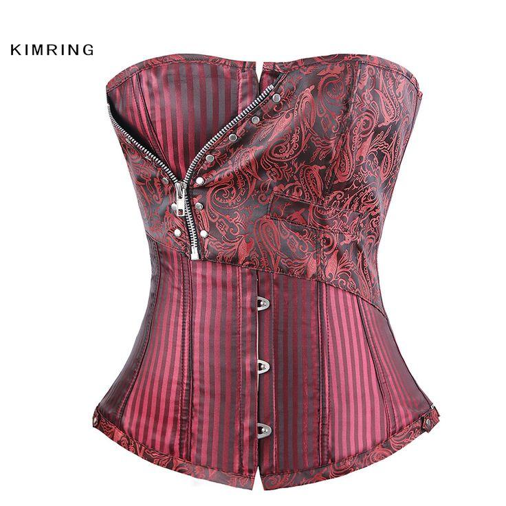 Kimring Sexy Steampunk Corset Phụ Nữ Gothic Thổ Cẩm Cộng Với Kích Thước Corset Eo Huấn Luyện Viên Cincher Bustiers Shapewear Cái Yếm Của Côn Trùng cho Phụ Nữ
