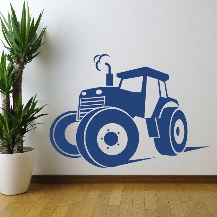 hot tractor boerderij silhouet kunst aan de muur sticker sticker thuis diy decoratie muurschildering verwijderbare decor slaapkamer muur sticker sticker 57x80cm()