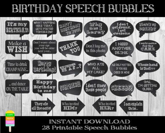 PRINTABLE Birthday Speech Bubbles–28 Pieces-DIY Birthday Photo Booth Props-Funny Birthday Props-Birthday Talk Bubbles-Instant Download