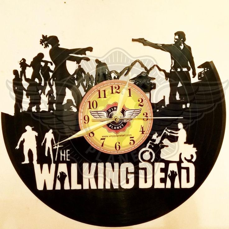 VINYL PLANET Wall Clock WALKING DEAD 2 Home Record Unique Decor upcycled 12''