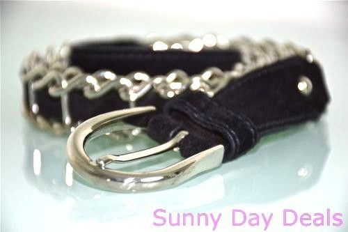 Miu Miu by Prada Belt Leather Black Silver Chain Link Italy Suede ...