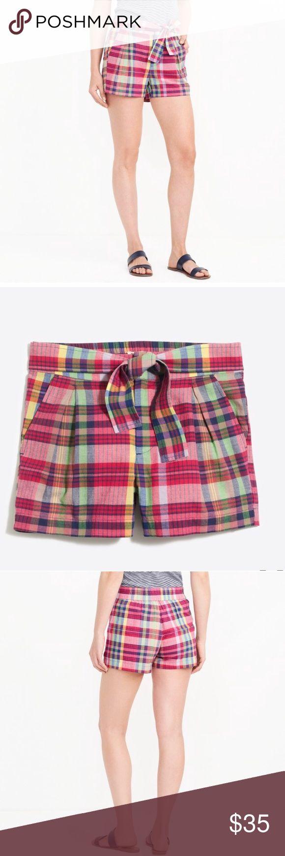 "J.Crew Madras tie-waist 3"" Plaid Shorts J.Crew Madras tie-waist 3"" Plaid Shorts  NWT plus Button Color: pink yellow green •Cotton. •Sits at waist. •3"" inseam. •Zip fly. •Slant pockets. •Machine wash. •Import. •ItemG6335. Retail $49.50  Size 6 - Run large, please see measurements  Waist 15.5"" Hips 20.5""  *Measurements taken laying flat J. Crew Shorts"