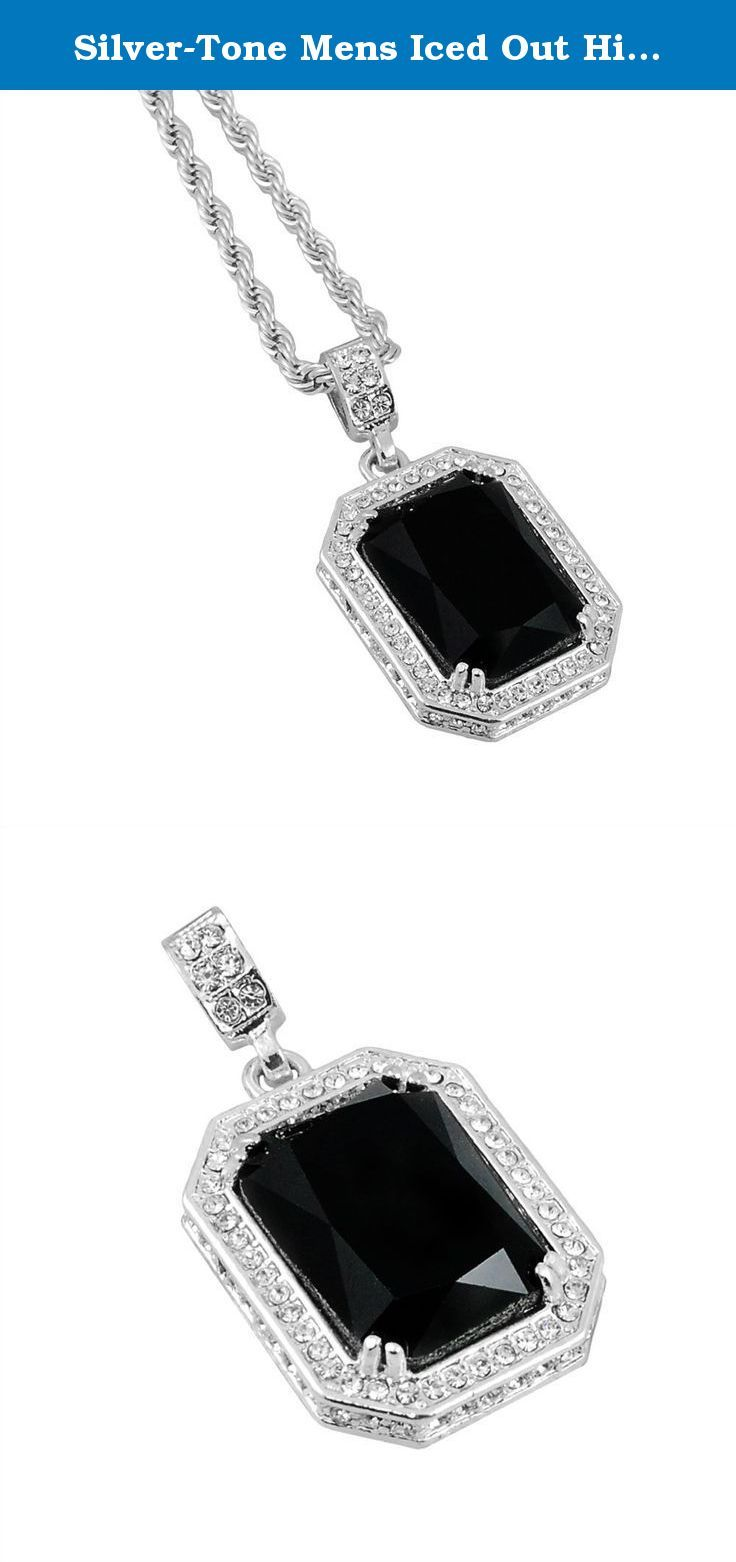 "Silver-Tone Mens Iced Out Hip Hop Bling Black Octagon Pendant 4mm 24"" Rope Chain. Check out our selection of Hip Hop Iced out 2pc Sets. Available in our store!."
