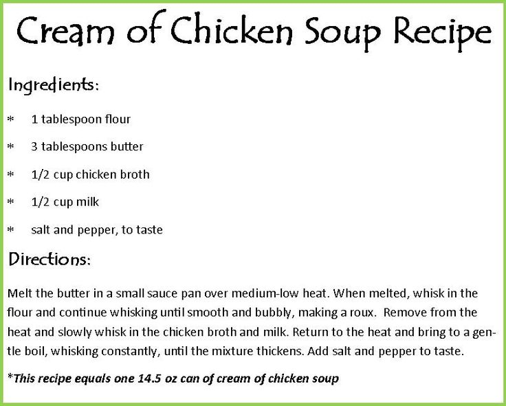 Cream of Chicken Soup Recipe - Easy to make and can be substituted in any recipe that calls for cream of chix soup! And it tastes much better.