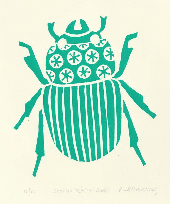 Scarab beetle lino print jade green by ruthbroadway on Etsy, £25.00