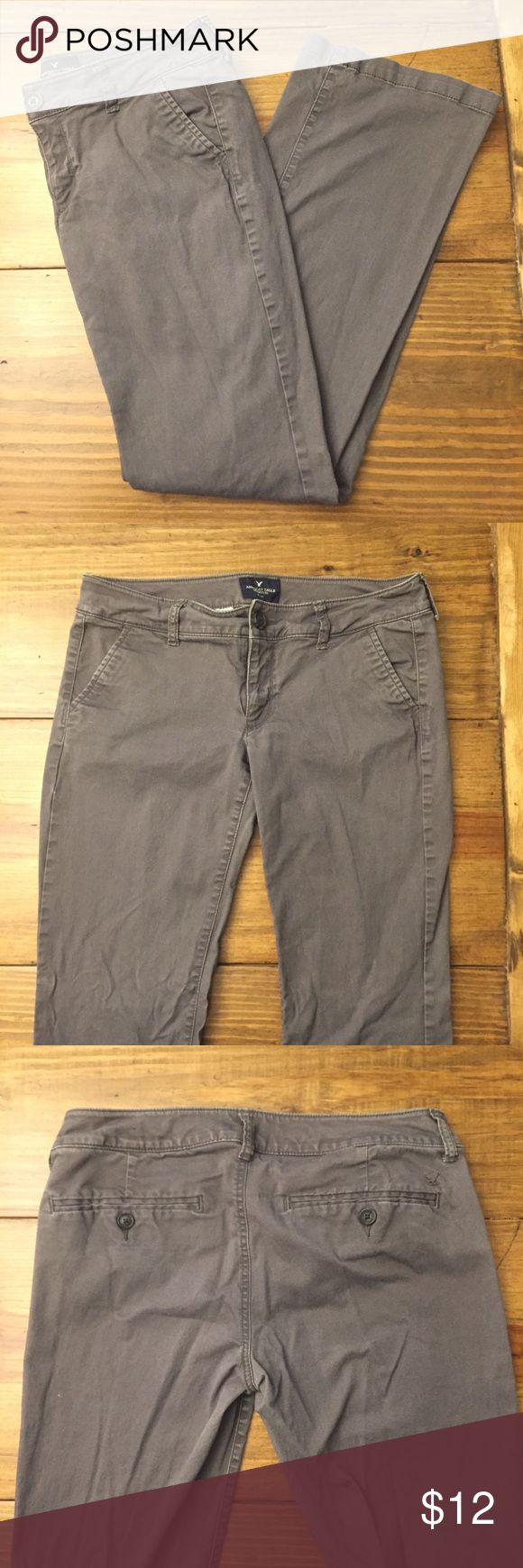 American Eagle Outfitters Kick Boot Grey Pants 6 Women's size 6 Gray Kick Boot Khaki Pants Good condition. No marks American Eagle Outfitters Pants