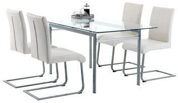 Asztal STORVORDE + 4 szék SKJERN krém